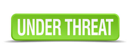 threat: under threat green 3d realistic square isolated button