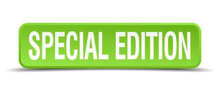 edizione straordinaria: Edizione speciale 3d pulsante isolato quadrato realistico verde Vettoriali