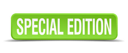 special edition: Special edition green 3d realistic square isolated button Illustration