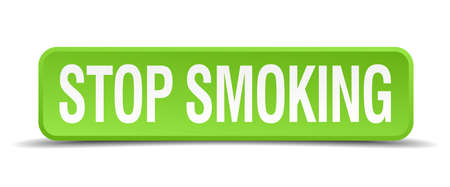 stop smoking: Stop smoking green 3d realistic square isolated button