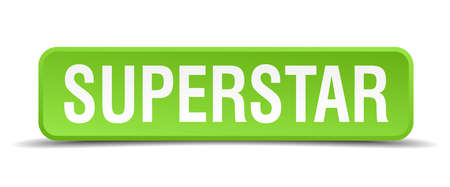 superstar: Superstar green 3d realistic square isolated button Illustration