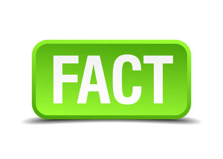 fact: Fact green 3d realistic square isolated button