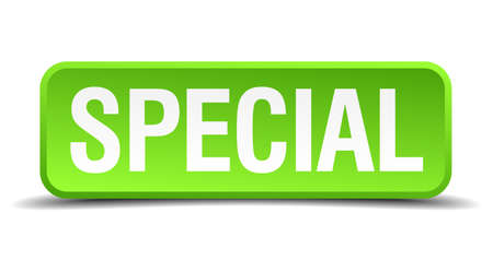 speciality: Special green 3d realistic square isolated button