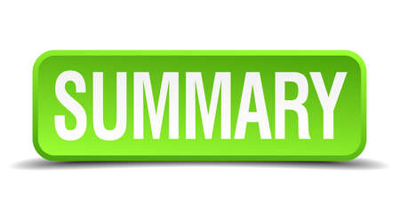 summary: Summary green 3d realistic square isolated button