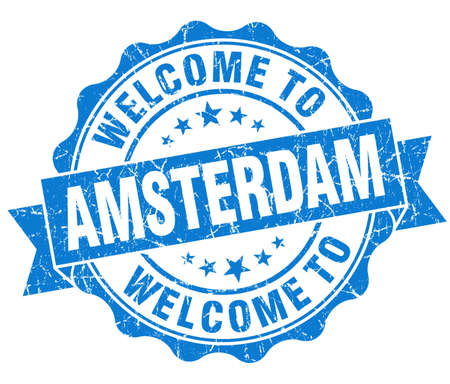 welcome to Amsterdam blue vintage isolated seal Stock Photo