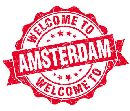 best location: welcome to Amsterdam red vintage isolated seal