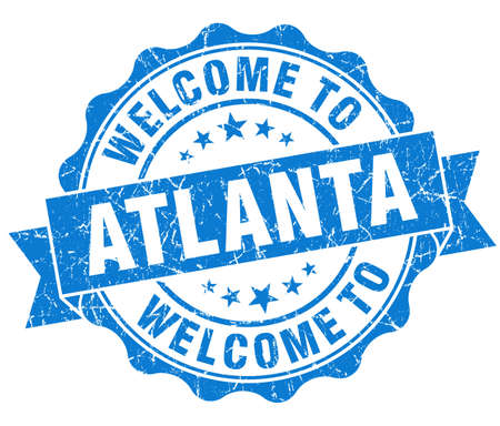 best location: welcome to Atlanta blue vintage isolated seal