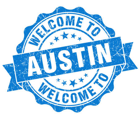best travel destinations: welcome to Austin blue vintage isolated seal Stock Photo