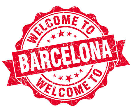 best location: welcome to Barcelona red vintage isolated seal Stock Photo