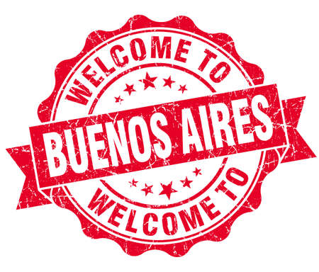 aires: welcome to Buenos Aires red vintage isolated seal