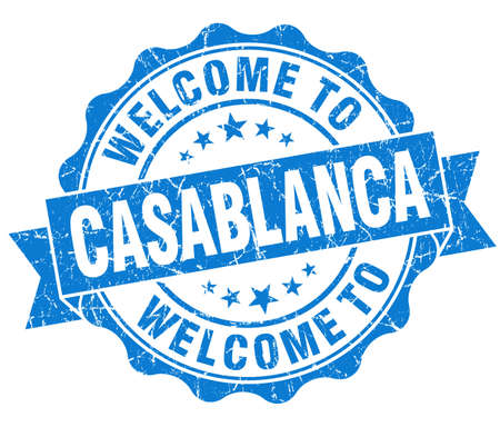 best location: welcome to Casablanca blue vintage isolated seal