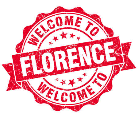 florence: welcome to Florence red vintage isolated seal Stock Photo