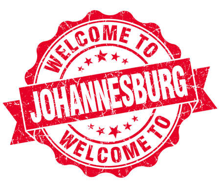 best location: welcome to Johannesburg red vintage isolated seal