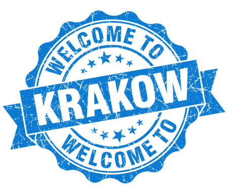 krakow: welcome to Krakow blue vintage isolated seal