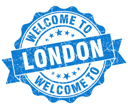 best location: welcome to London blue vintage isolated seal