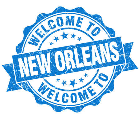 new orleans: welcome to New Orleans blue vintage isolated seal