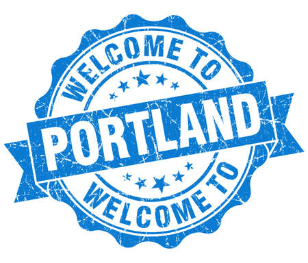 welcome to Portland blue vintage isolated seal