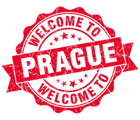 welcome to Prague red vintage isolated seal photo