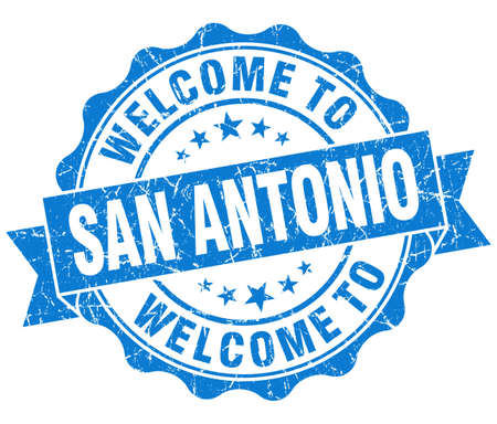 welcome to San Antonio blue vintage isolated seal photo