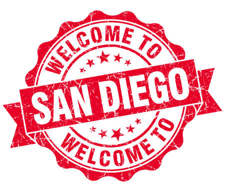 san diego: welcome to San Diego red vintage isolated seal