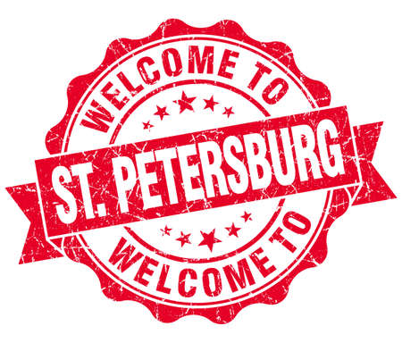 st  petersburg: welcome to St. Petersburg red vintage isolated seal Stock Photo