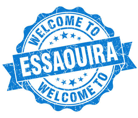 best location: welcome to Essaouira blue vintage isolated seal