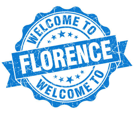 welcome to Florence blue vintage isolated seal Stock Photo