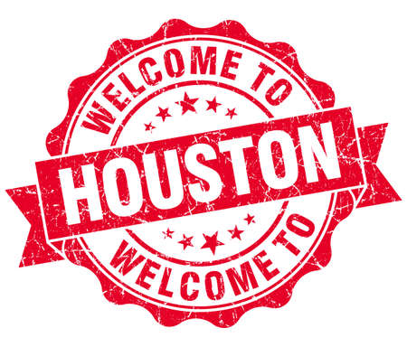 houston: welcome to Houston red vintage isolated seal Stock Photo