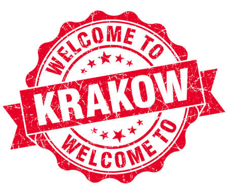 welcome to Krakow red vintage isolated seal
