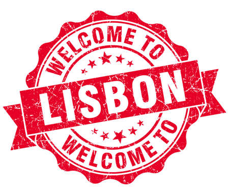 welcome to Lisbon red vintage isolated seal