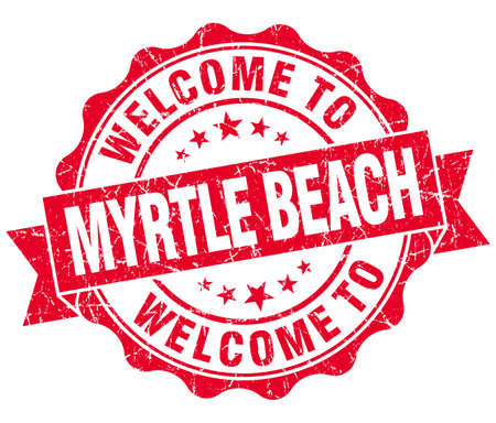 myrtle: welcome to Myrtle Beach red vintage isolated seal Stock Photo