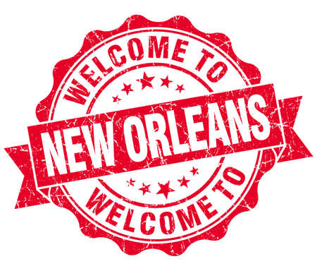 new orleans: welcome to New Orleans red vintage isolated seal