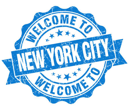 welcome to New York City blue vintage isolated seal photo