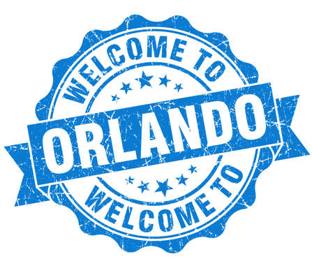 orlando: welcome to Orlando blue vintage isolated seal Stock Photo