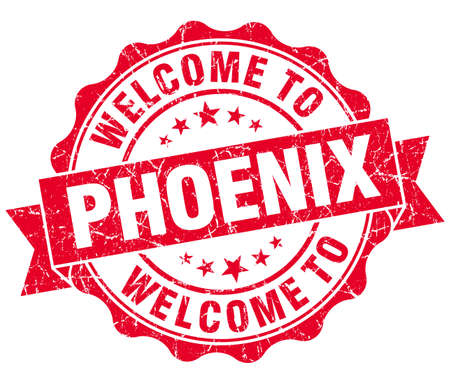 welcome to Phoenix red vintage isolated seal