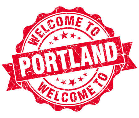 welcome to Portland red vintage isolated seal photo