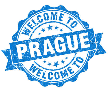 welcome to Prague blue vintage isolated seal photo