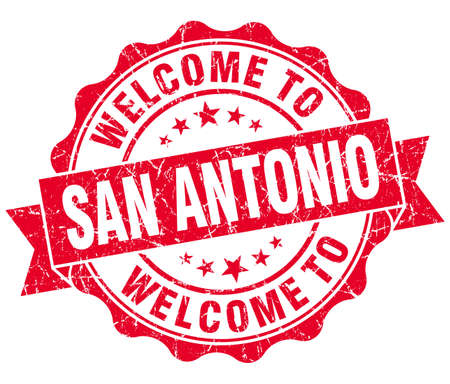 welcome to San Antonio red vintage isolated seal photo