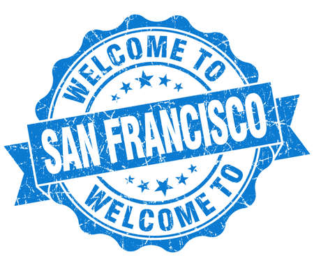 welcome to San Francisco blue vintage isolated seal Stock Photo