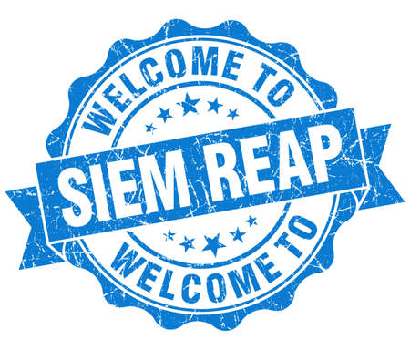 reap: welcome to Siem Reap blue vintage isolated seal