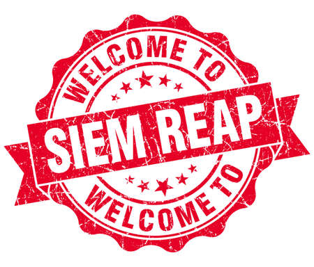 reap: welcome to Siem Reap red vintage isolated seal Stock Photo