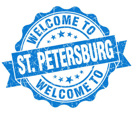st petersburg: welcome to St. Petersburg blue vintage isolated seal Stock Photo