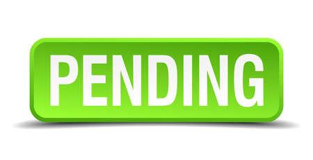 indeciso: Pendiente verde aislados bot�n cuadrado realista 3d