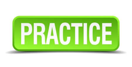 практика: Практика зеленый 3d реалистичный квадратный изолированный кнопку Иллюстрация