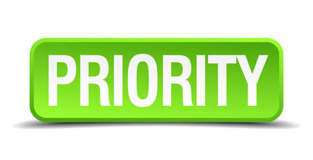 precedency: Priority green 3d realistic square isolated button