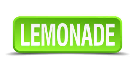 Lemonade green 3d realistic square isolated button Vector