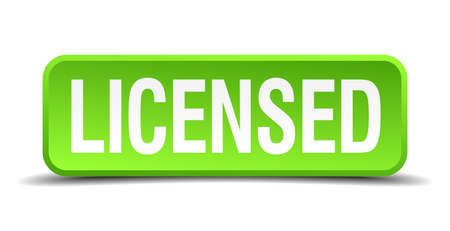 licensed: Licensed green 3d realistic square isolated button