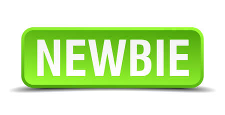 newbie: Newbie green 3d realistic square isolated button Illustration