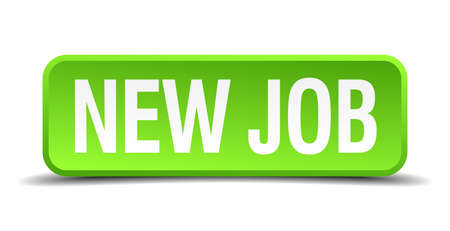 new job green 3d realistic square isolated button Vector