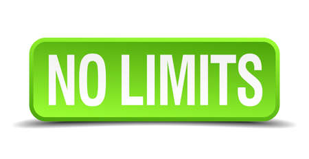 No limits green 3d realistic square isolated button Vector